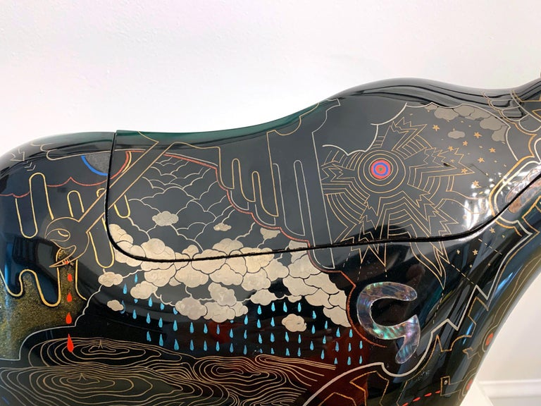 Rhino Contemporary Japanese Lacquer Art by Someya Satoshi For Sale 4