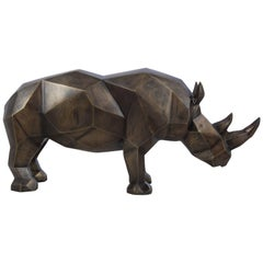 Rhino Sculpture in Brushed Brass, 2017