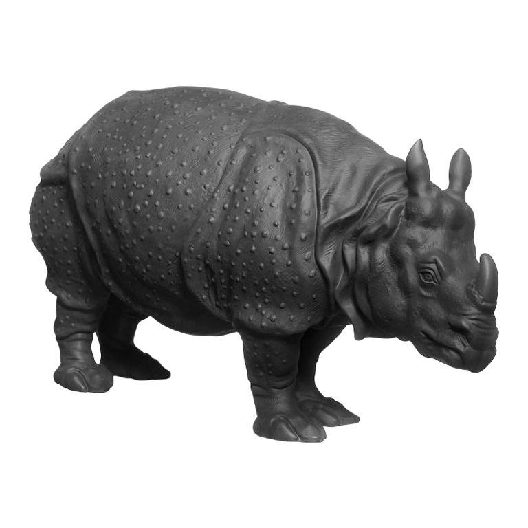 Rhinoceros Clara Animal Figure in Black Biscuit Porcelain by Nymphenburg For Sale