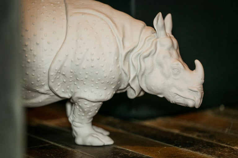 Modern Rhinoceros Clara Animal Figure in White Biscuit Porcelain by Nymphenburg For Sale