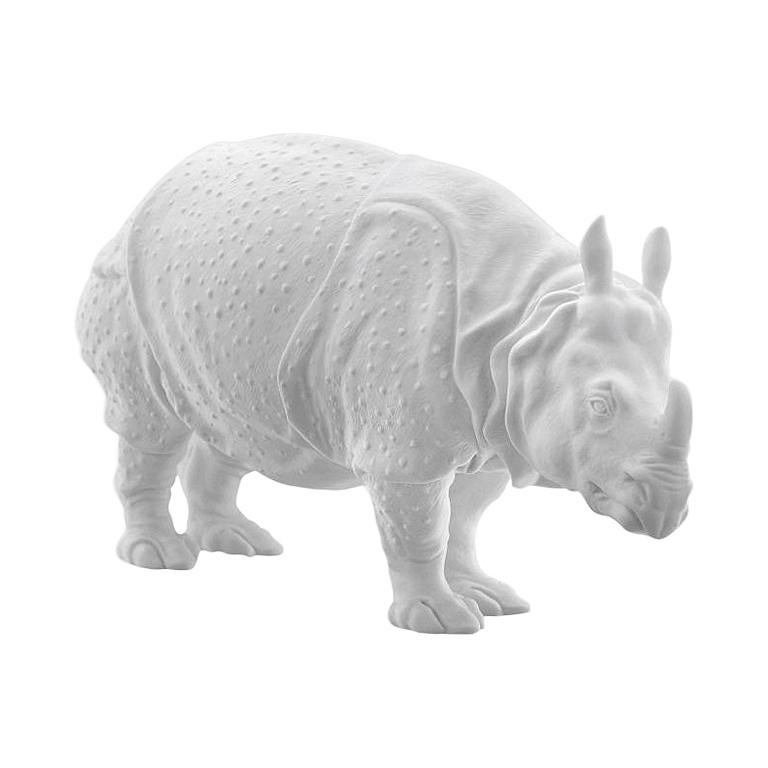 Rhinoceros Clara Animal Figure in White Biscuit Porcelain by Nymphenburg For Sale