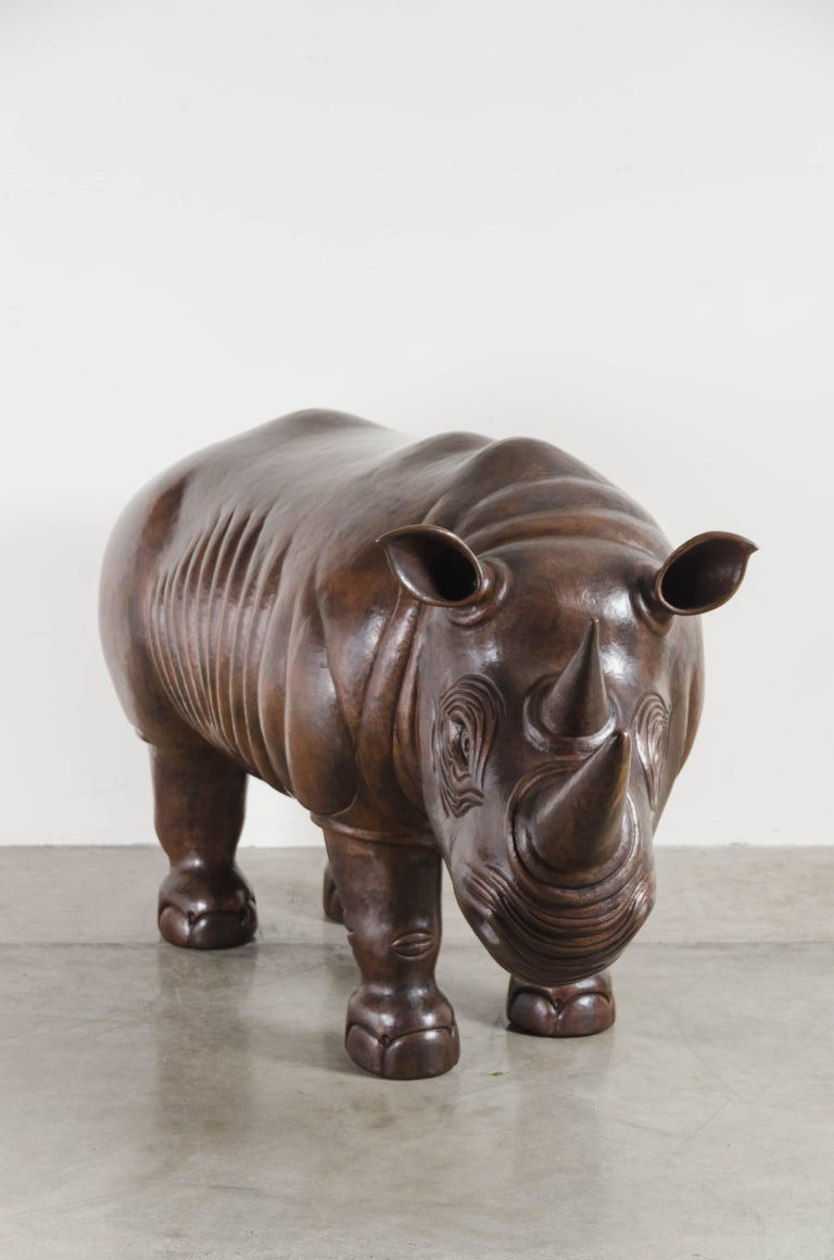 Rhinoceros sculpture Antique copper Hand repousse One of a kind  Repousse´ is the traditional art of hand-hammering decorative relief onto sheet metal. The technique originated around 800 BC between Asia and Europe and in Chinese historical