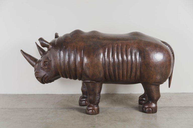 Repoussé Rhinoceros Sculpture, Antique Copper by Robert Kuo, One of a Kind For Sale