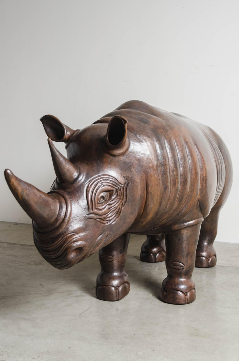 Rhinoceros Sculpture, Antique Copper by Robert Kuo, One of a Kind For Sale 3