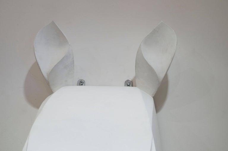 White painted metal rhinoceros. French work circa 1980.