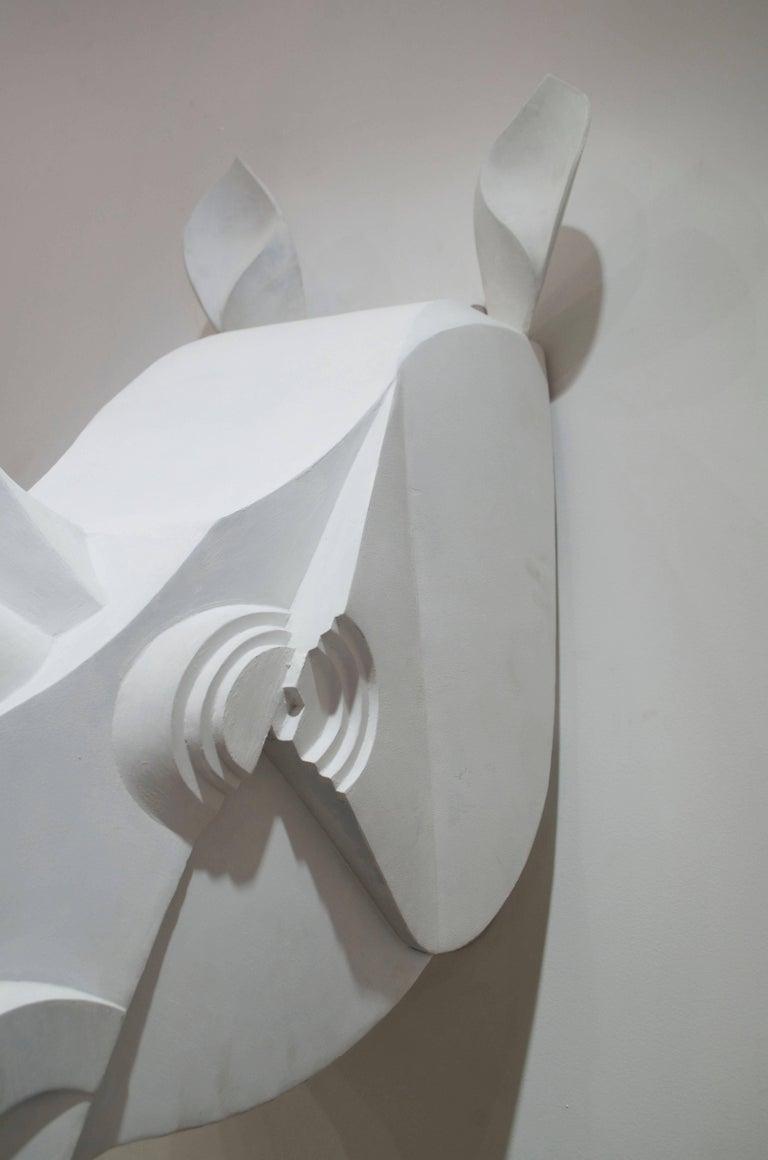 Modern Rhinoceros Sculpture in Painted Metal For Sale