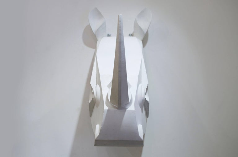 Rhinoceros Sculpture in Painted Metal In Good Condition For Sale In Saint-Ouen, FR