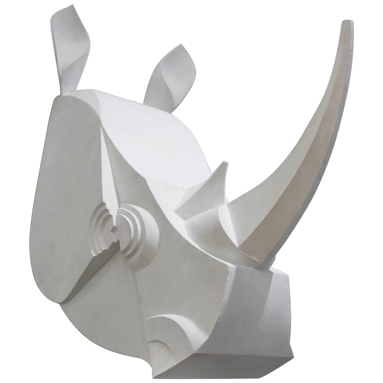 Rhinoceros Sculpture in Painted Metal
