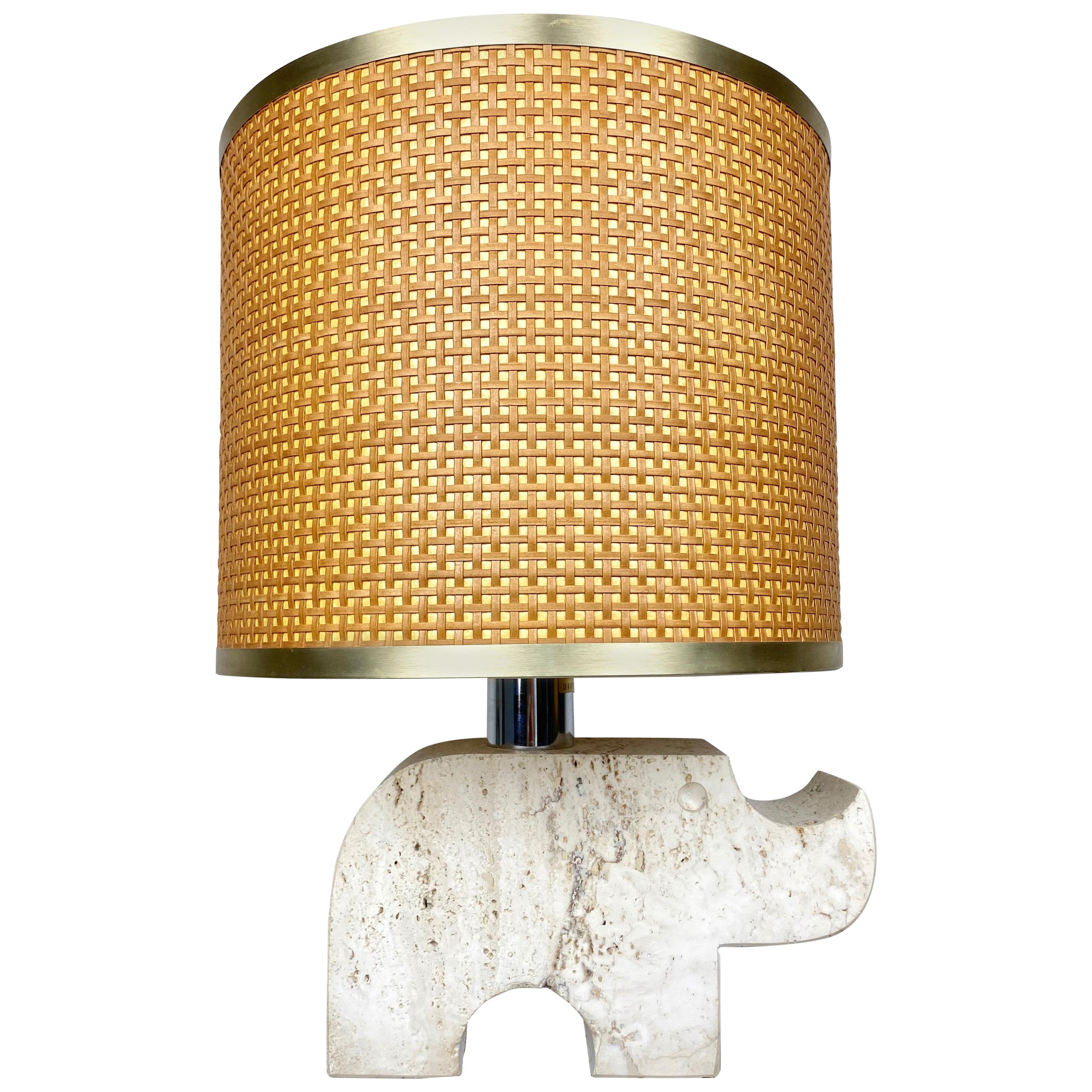 Rhinoceros Table Lamp in Travertine, Fratelli Mannelli, Italy, 1970s