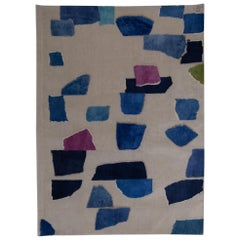 Rhizomes Milky Way Blue Hand Knotted Rug by Charlotte Culot