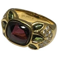 Rhodalite Garnet, Green Tourmaline, Diamond Ring set in 18 Karat Gold #21-11990