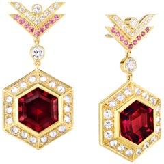 AnaKatarina Rhodalite Garnet, Pink and White Diamonds and Yellow Gold Earrings