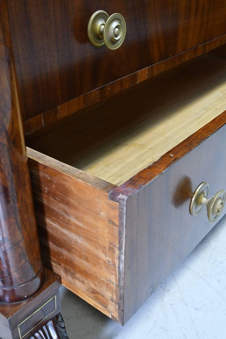 Rhode Island Empire Butler's Chest of Drawers with Desk in Mahogany, circa 1825 For Sale 1