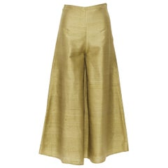 RHODE Resort 100% raw silk green wide flared trousers pants XS 26""