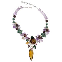 Rhodium and Gold-Plated Multi-Color Stone and Diamond Necklace