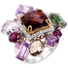Rhodium and Gold-Plated Multi-Stone Fashion Ring