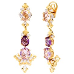 Rhodium and Yellow Gold-Plated Dangle Earrings with Pink and Purple Amethyst
