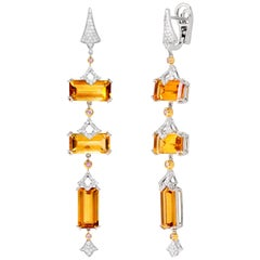 Rhodium and Yellow Gold-Plated Silver Earrings with Citrine and White Diamonds