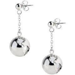 Rhodium dangling chain earth earrings
