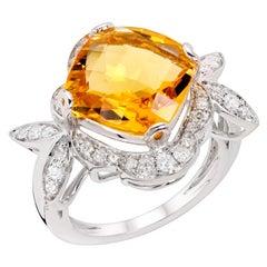 Rhodium-Plated 3.3 Carat Citrine and Diamond Cocktail Ring