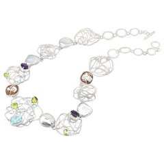 Rhodium Plated 925 Sterling Silver Sea Shell Cameos Necklace