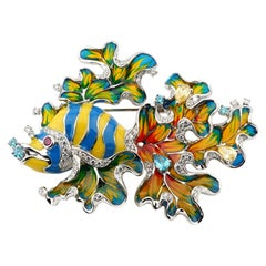 Rhodium Plated 925 Sterling Silver with Enamels Clownfish Shaped Brooch