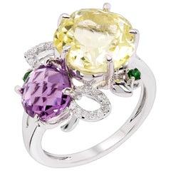 Rhodium-Plated Amethsyt, Lemon Quartz, Tsavorite and Diamonds Fashion Ring