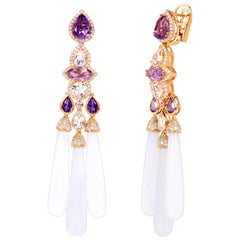 Rhodium-Plated Dangle Earrings with Amethyst, Pink Topaz Pink Sapphire and Agate