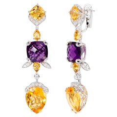 Rhodium-Plated Dangle Earrings with Citrine, Amethyst and Diamonds
