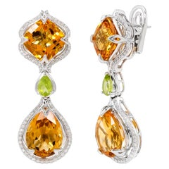 Rhodium-Plated Drop Earrings with Citrine, Peridot and Diamonds