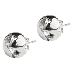 Rhodium plated Earth studs Earrings