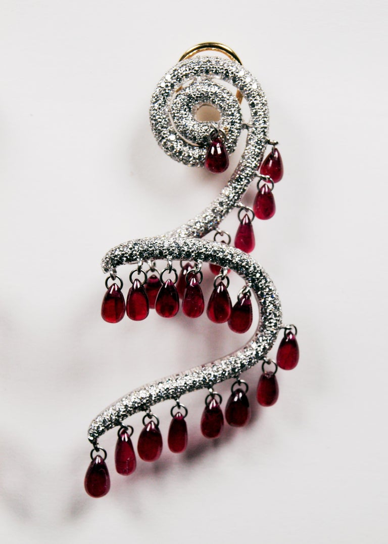 Rhodium Plated 18 Karat Yellow Gold Ruby and Diamond Spiral Earrings In Good Condition For Sale In Kent, GB