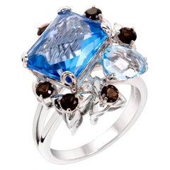 Rhodium-Plated Sky and Swiss Blue Topaz, Smoky Quartz and Diamonds Fashion Ring