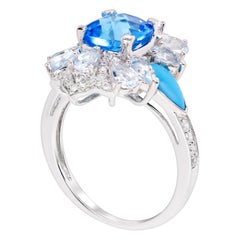 Rhodium-Plated Swiss and Sky Blue Topaz, Turquoise and Diamonds Fashion Ring