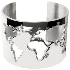 Rhodium World Cuff Bracelet by Cristina Ramella