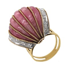 Rhodochrosite Bombe Cocktail Ring in Yellow Gold with Diamonds, Circa 1950
