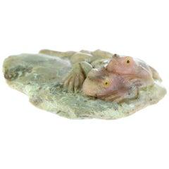 Rhodochrosite Lizard Gemstone Carved Animal Handmade Chinese Statue Sculpture