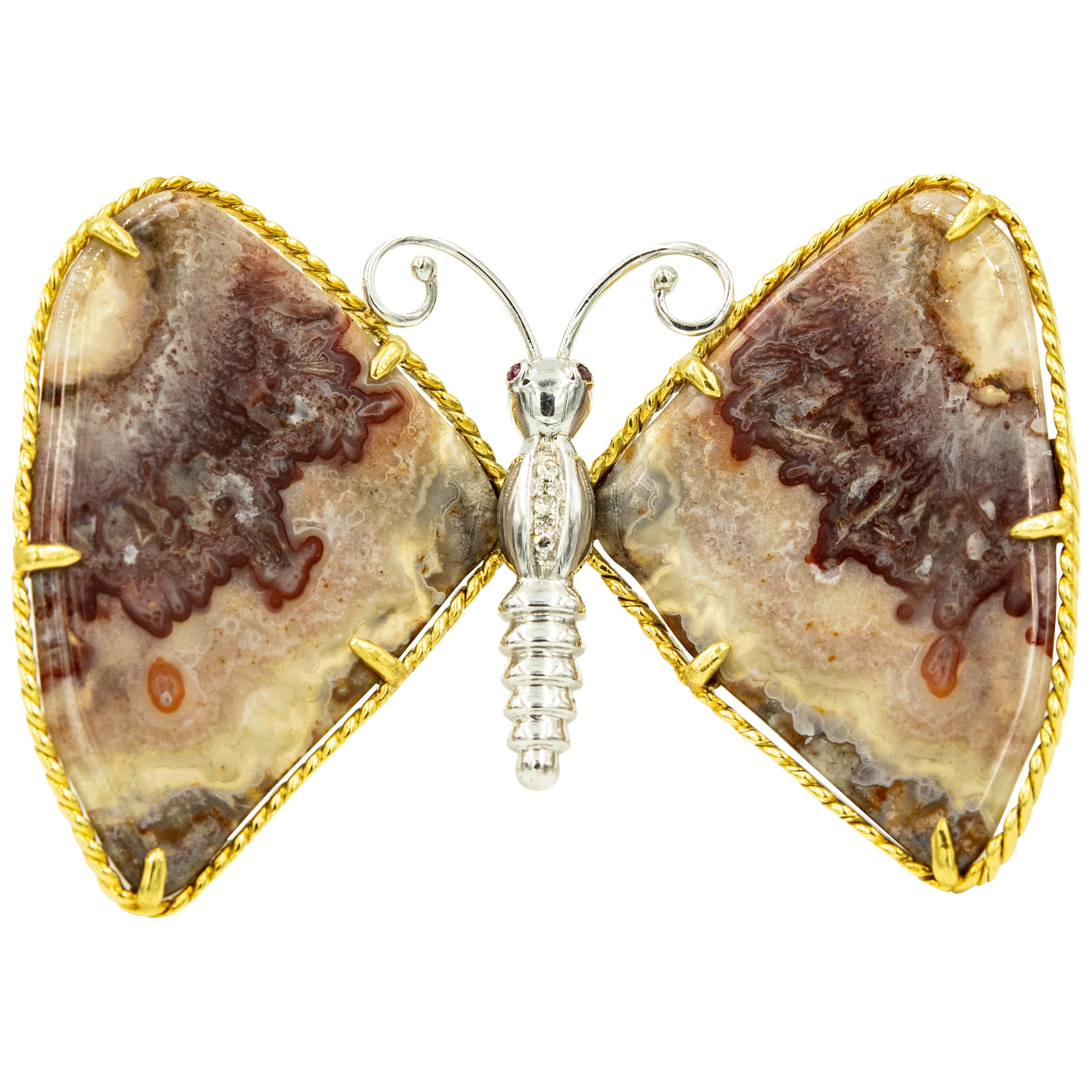 Rhodochrosite Ruby Diamond White and Yellow Gold Butterfly Brooch Pin Pendant