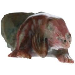 Rhodochrosite Seal Figurine Carved Animal Handmade Chinese Statue Sculpture