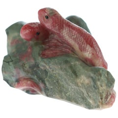 Rhodochrosite Snake Gemstone Carved Animal Handmade Chinese Statue Sculpture