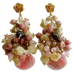 Rhodochrosite Topaz Rhodonite Smokey/Rose Quartz Andalusite Cluster Earrings