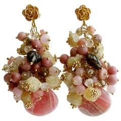 Rhodochrosite Topaz Rhodonite Smokey/Rose Quartz Andalusite Cluster Earrings