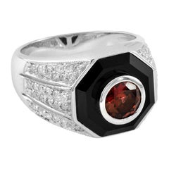 Rhodolite Diamond Onyx Cocktail Ring