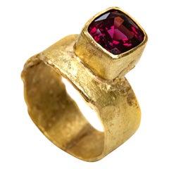 Rhodolite Garnet 18 Karat Gold Ring Handmade by Disa Allsopp
