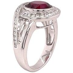 Rhodolite Garnet 4.16 Carat and Diamond Ring in 18 Karat Gold