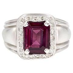 Rhodolite Garnet and Diamond 18 Karat White Gold Wide Ring