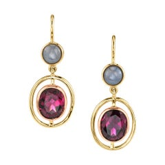 Pink Garnet, Star Sapphire 18k Yellow & Pink Gold Bezel Lever Back Drop Earrings