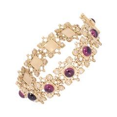 Rhodolite Garnet Aphrodite Link Bracelet in 18 Karat Gold with Diamonds