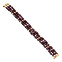 Rhodolite Garnet Bracelet Vintage 14k Yellow Gold 3 Strand Estate Jewelry