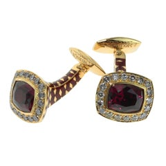 Rhodolite Garnet Brown Diamonds 18 Karat Yellow Gold Male Enamel Cufflinks